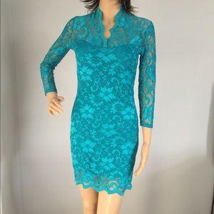Floral Lace Dress in Aquamarine